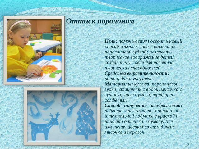 Оттиск поролоном Цель: помочь детям освоить новый способ изображения – рисова...