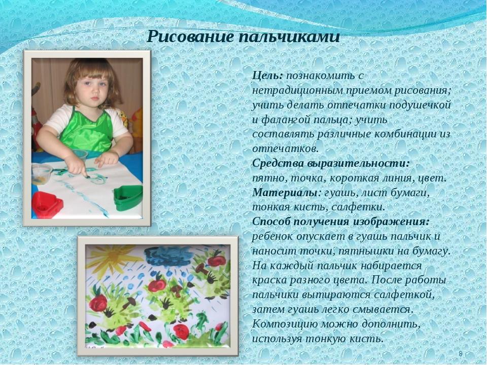 Рисование пальчиками Цель: познакомить с нетрадиционным приемом рисования; у...