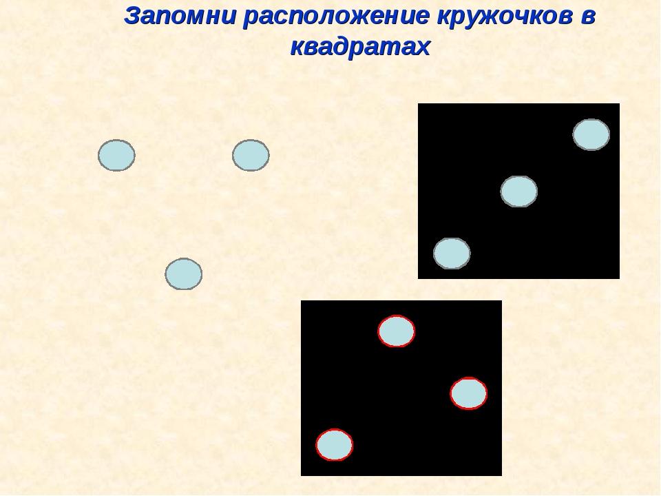 Запомни расположение кружочков в квадратах