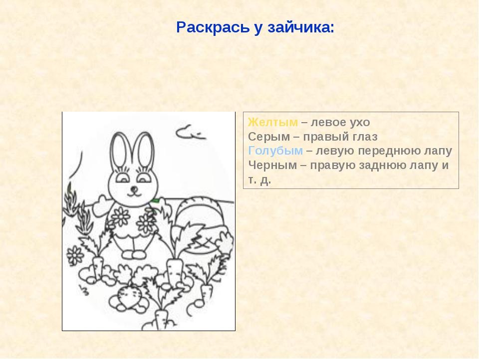 Раскрась у зайчика: Желтым – левое ухо Серым – правый глаз Голубым – левую пе...