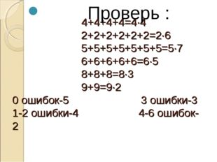 4+4+4+4=4·4 2+2+2+2+2+2=2·6 5+5+5+5+5+5+5=5·7 6+6+6+6+6=6·5 8+8+8=8·3 9+9=9·