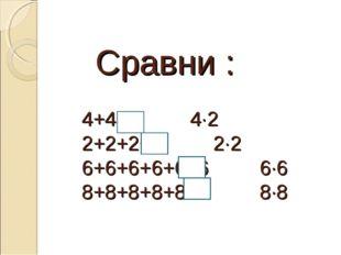 Сравни : 4+4+4 4·2 2+2+2+2 2·2 6+6+6+6+6+6 6·6 8+8+8+8+8+8 8·8