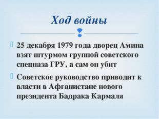 25 декабря 1979 года дворец Амина взят штурмом группой советского спецназа ГР