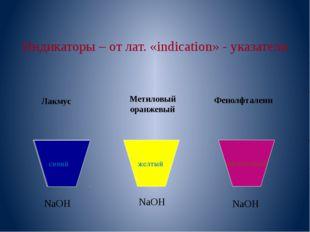 Индикаторы – от лат. «indication» - указатели NaOH NaOH NaOH Лакмус Метиловы