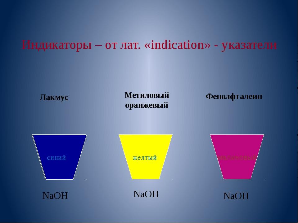 Индикаторы – от лат. «indication» - указатели NaOH NaOH NaOH Лакмус Метиловы...