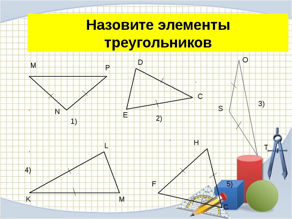 Назовите элементы треугольников
