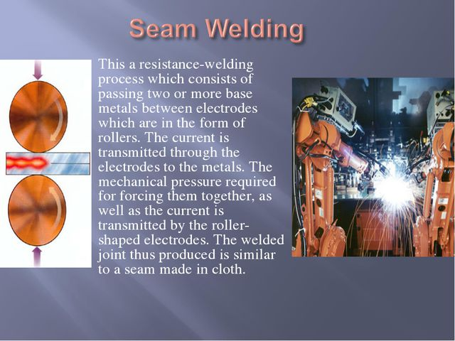 This a resistance-welding process which consists of passing two or more base...