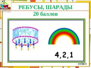 РЕБУСЫ, ШАРАДЫ 20 баллов ОТВЕТ