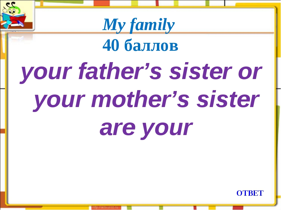 My family 40 баллов your father's sister or your mother's sister are your ОТВЕТ