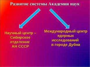 Развитие системы Академии наук Научный центр – Сибирское отделение АН СССР Ме