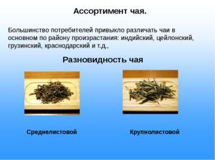Ассортимент чая. Большинство потребителей привыкло различать чаи в основном