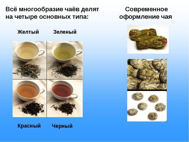 Всё многообразие чаёв делят на четыре основных типа: Желтый Зеленый Красный...