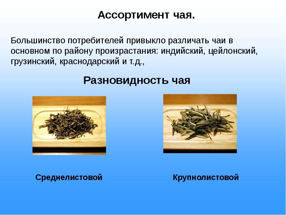 Ассортимент чая. Большинство потребителей привыкло различать чаи в основном...