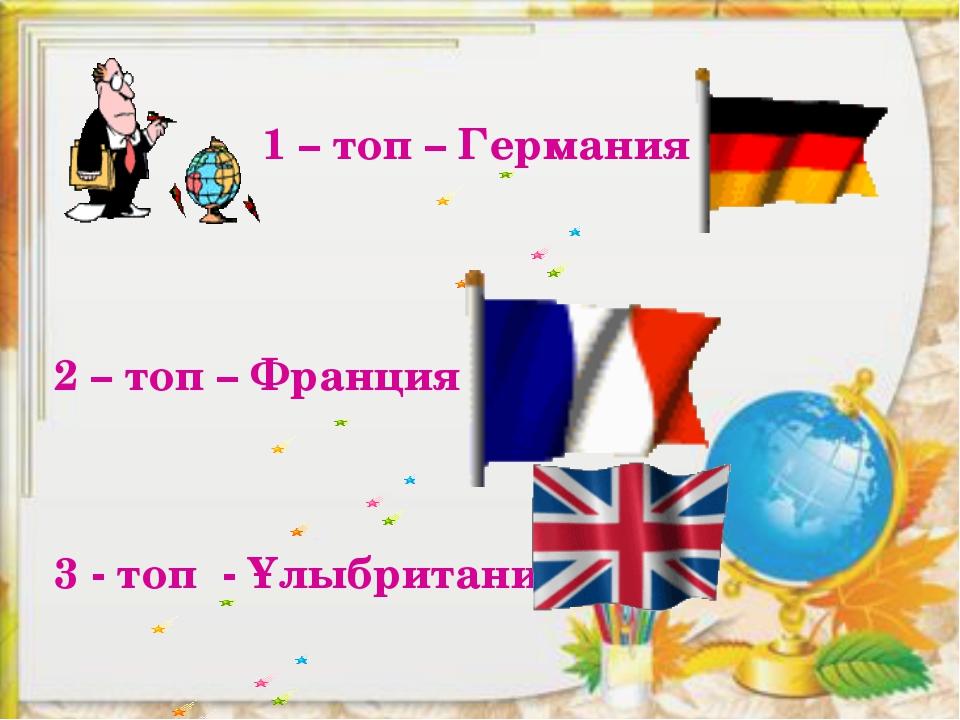 1 – топ – Германия 2 – топ – Франция 3 - топ - Ұлыбритания