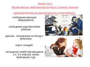 Этап №1: Выявление неблагополучных семей может производиться различными спосо