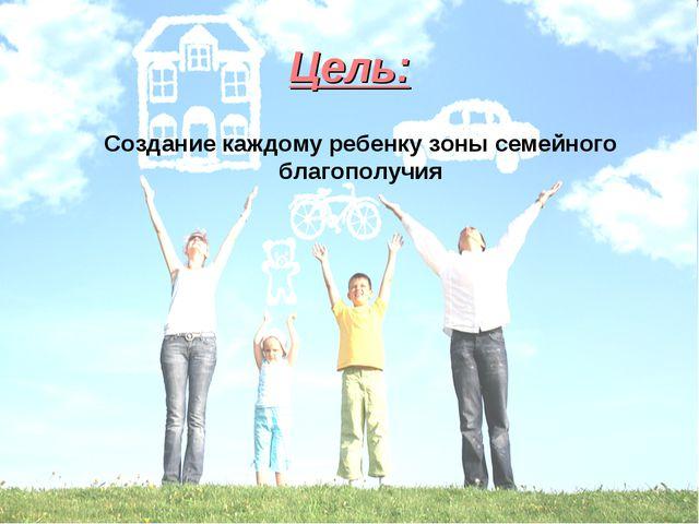 Цель: Создание каждому ребенку зоны семейного благополучия
