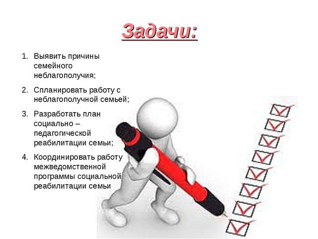 Задачи: Выявить причины семейного неблагополучия; Спланировать работу с небла...