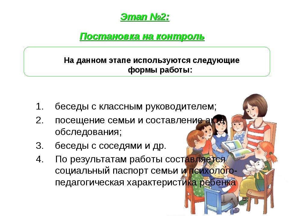Этап №2: Постановка на контроль На данном этапе используются следующие формы...