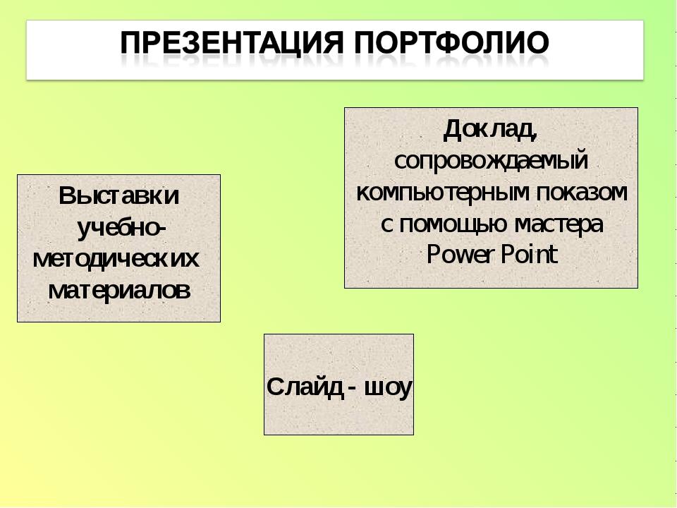 Выставки учебно- методических материалов Слайд - шоу Доклад, сопровождаемый к...