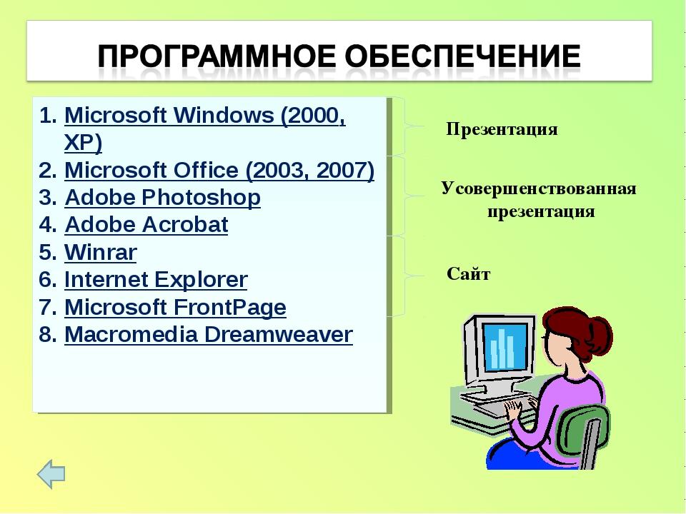 Microsoft Windows (2000, XP) Microsoft Office (2003, 2007) Adobe Photoshop Ad...