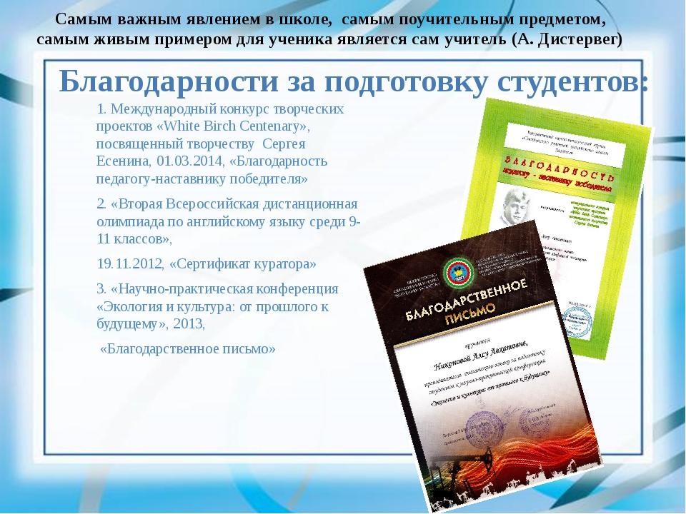 Благодарности за подготовку студентов: 1. Международный конкурс творческих пр...