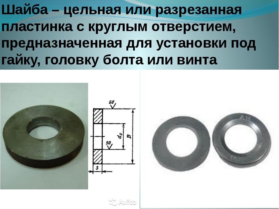 Шайба – цельная или разрезанная пластинка с круглым отверстием, предназначенн...