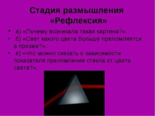 Стадия размышления «Рефлексия» а) «Почему возникала такая картина?». б) «Све
