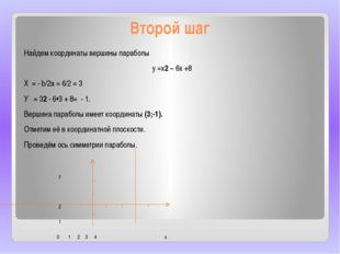 Второй шаг Найдем координаты вершины параболы у =х2 – 6х +8 Хₒ= - b/2а = 6/2