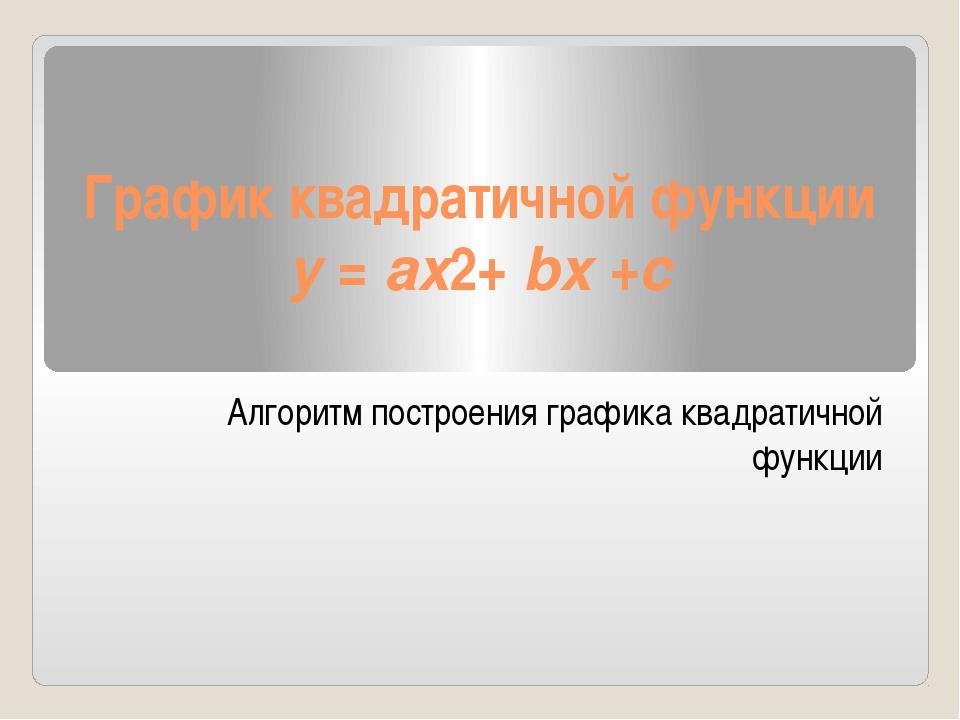 График квадратичной функции y =ax2+bx +c Алгоритм построения графика квадра...