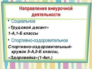 Направления внеурочной деятельности Социальное «Трудовой десант» 1-А,1-Б клас
