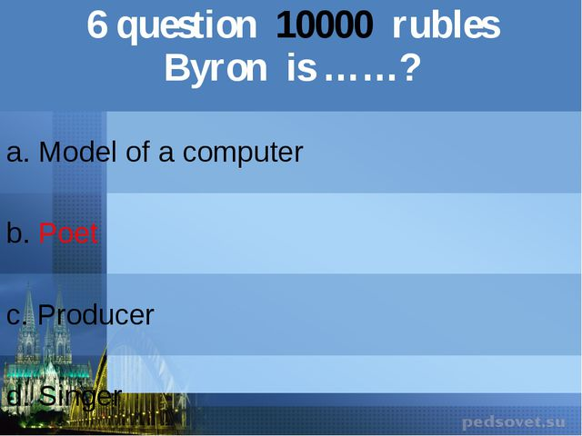 6question10000rubles Byron is ……? a. Model of a computer b.Poet c.Producer d....