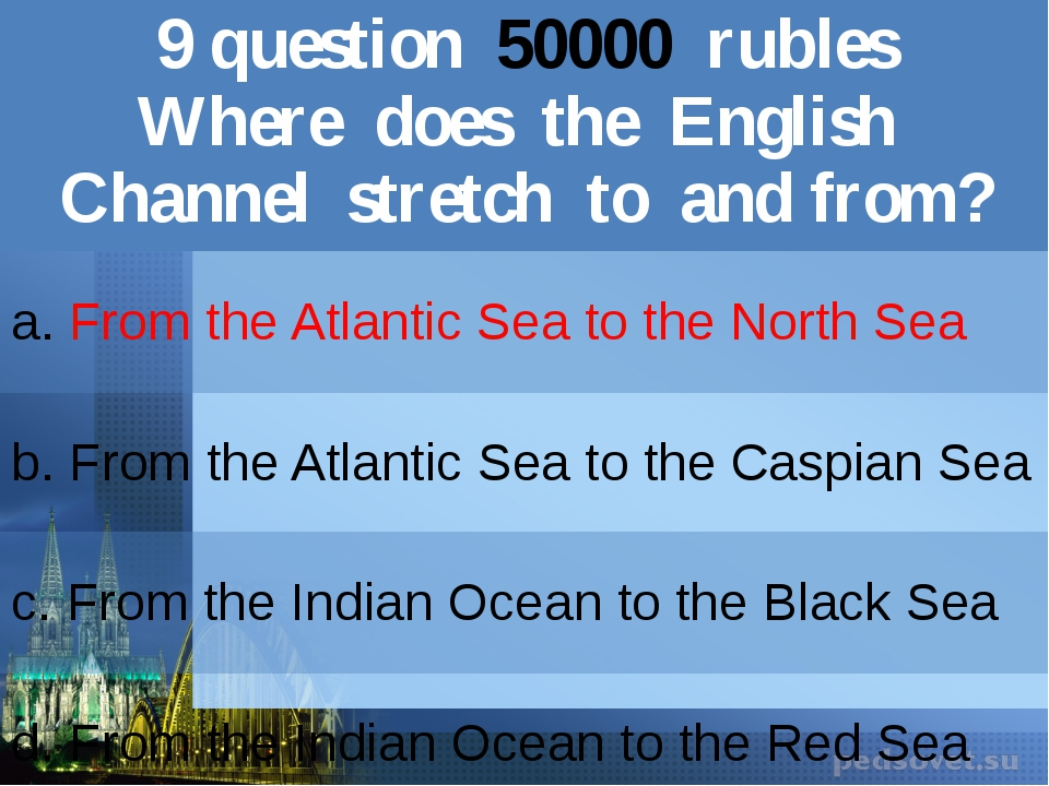 9question50000rubles Where does the English Channel stretch to and from? a.Fr...