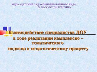 МДОУ «ДЕТСКИЙ САД КОМБИНИРОВАННОГО ВИДА № 28 «ЗОЛОТОЙ КЛЮЧИК» Взаимодействие