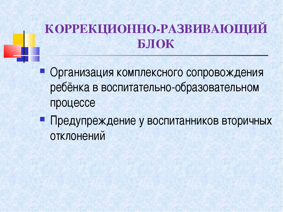 КОРРЕКЦИОННО-РАЗВИВАЮЩИЙ БЛОК Организация комплексного сопровождения ребёнка...