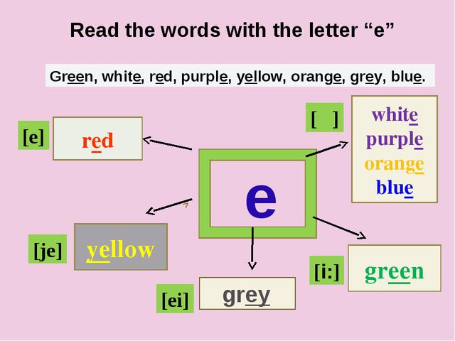 """e red yellow white purple orange blue green Read the words with the letter """"..."""