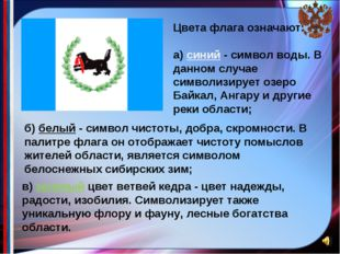 Цвета флага означают: а) синий - символ воды. В данном случае символизиру