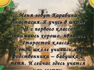 Меня зовут Карабина Анастасия. Я учусь в школе №1 с первого класса. Занимаюсь