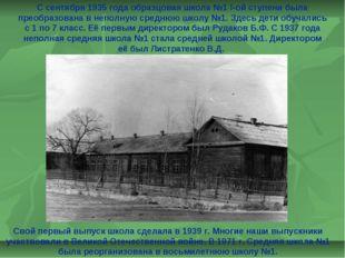 С сентября 1935 года образцовая школа №1 I-ой ступени была преобразована в не