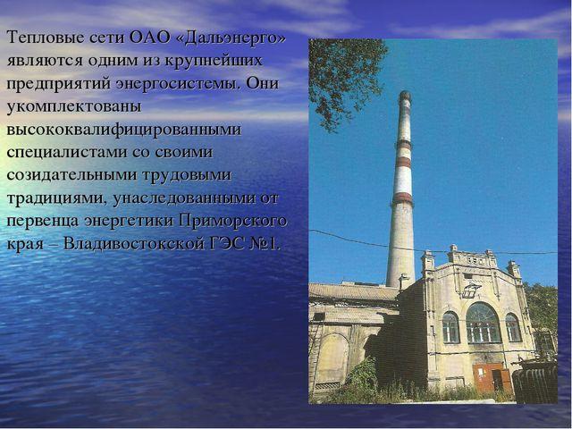 Тепловые сети ОАО «Дальэнерго» являются одним из крупнейших предприятий энерг...