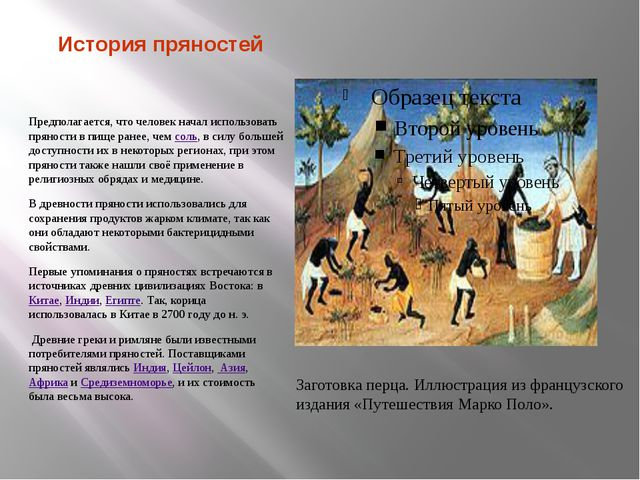История пряностей Предполагается, что человек начал использовать пряности в п...