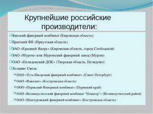 Крупнейшие российские производители: Вятский фанерный комбинат (Кировская об