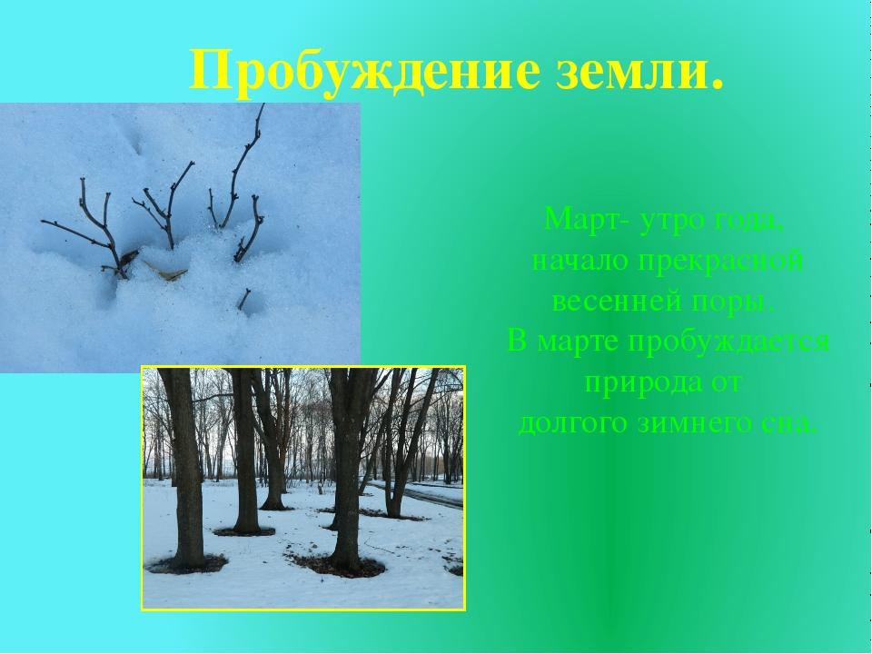Пробуждение земли. Март- утро года, начало прекрасной весенней поры. В марте...