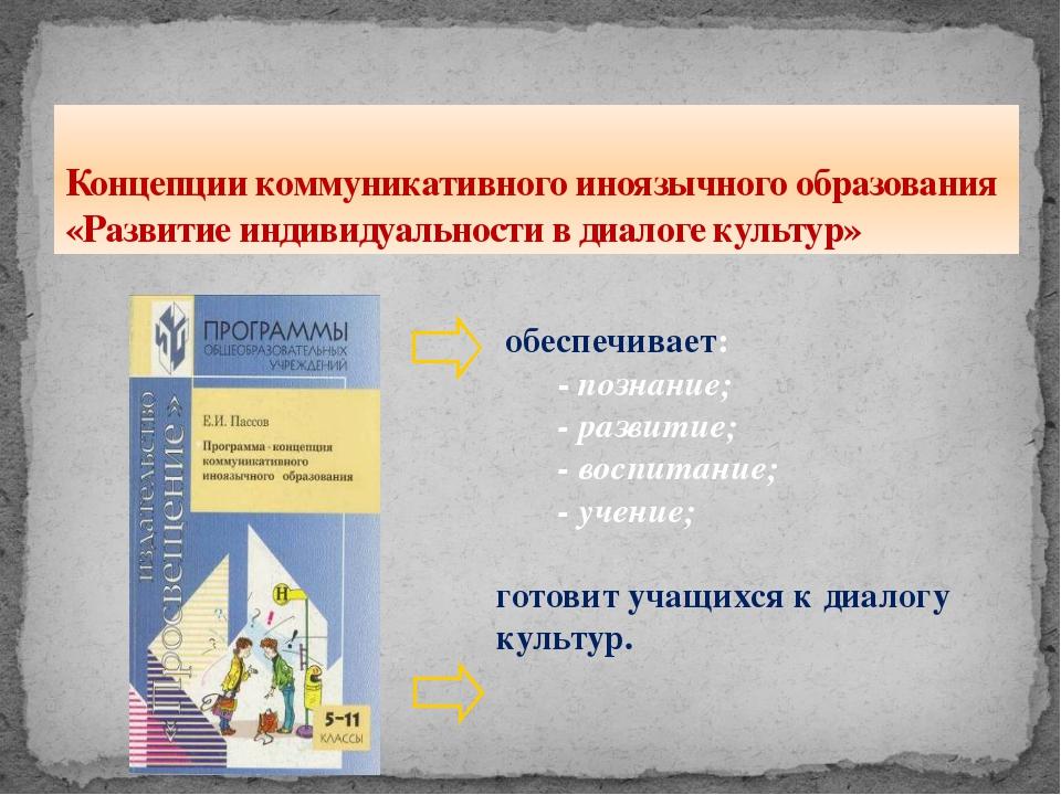 Концепции коммуникативного иноязычного образования «Развитие индивидуальности...