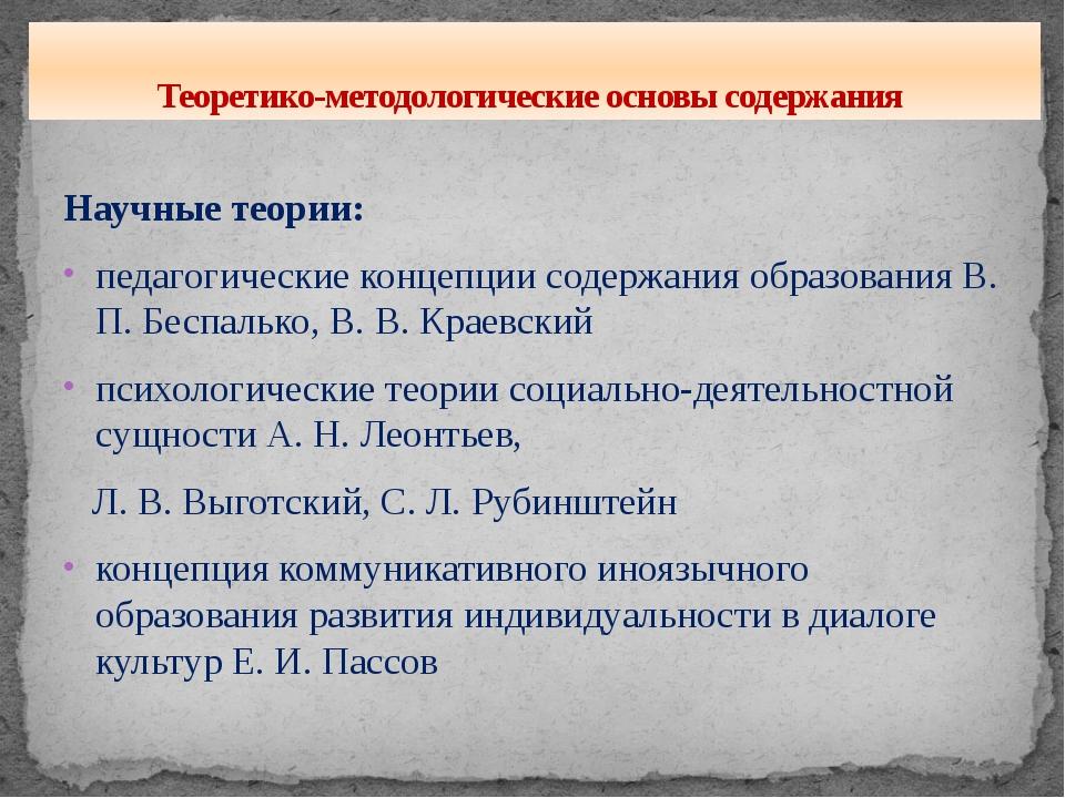 Научные теории: педагогические концепции содержания образования В. П. Беспаль...
