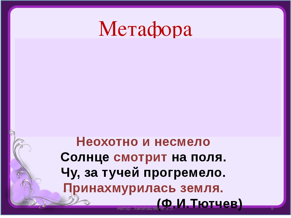 Метафора Метафора (греч. «метафора» – перенос) – перенос названия с одного пр...