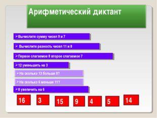 Вычислите сумму чисел 9 и 7 Вычислите разность чисел 11 и 8 Первое слагаемое