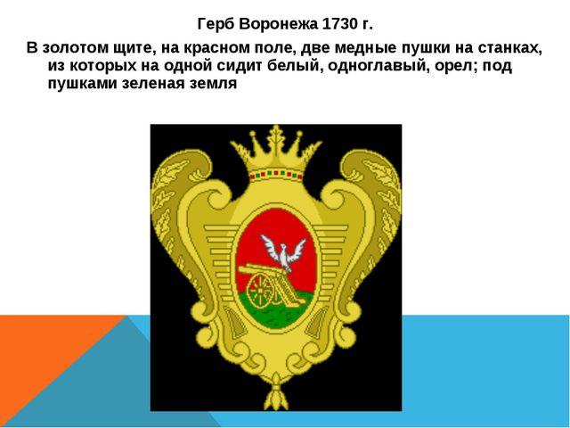 Герб Воронежа 1730 г. В золотом щите, на красном поле, две медные пушки на ст...