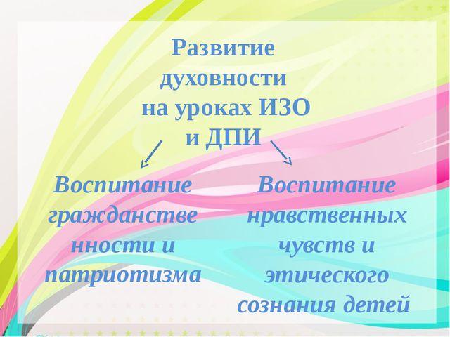 Развитие духовности на уроках ИЗО и ДПИ Воспитание гражданственности и патри...