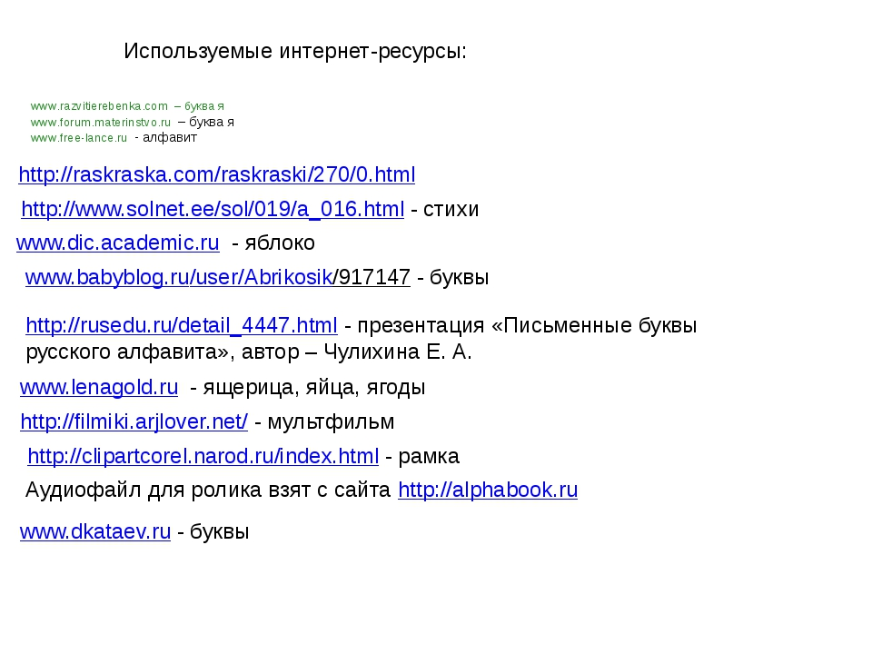 www.razvitierebenka.com – буква я www.forum.materinstvo.ru – буква я www.free...