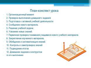План-конспект урока 1. Организационный момент 2. Проверка выполнения домашнег
